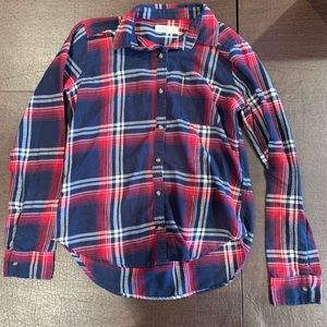EUC Hollister Plaid button down women XS navy red